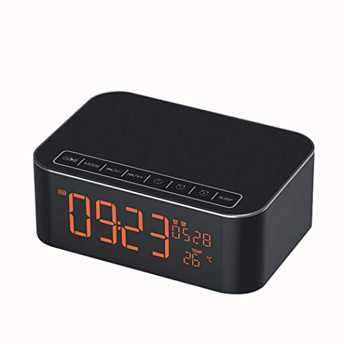 RENJUN Heavy Subwoofer Alarm Clock Radio Audio Smartphone Card Wireless Mini Speaker, 160×110×71mm Speaker