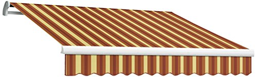 Awntech 8-Feet Maui-LX Manual Retractable Acrylic Awning, 84-Inch Projection, Burgundy/Tan Wide