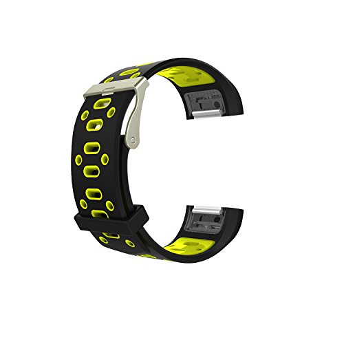 Band for Fitbit Charge 2, New Soft Silicone Wristband Strap Replacement Band for Fitbit Charge 2 (No Tracker) (Style B:Black & Yellow, 5.5 - 8.1 Inches wrist) -