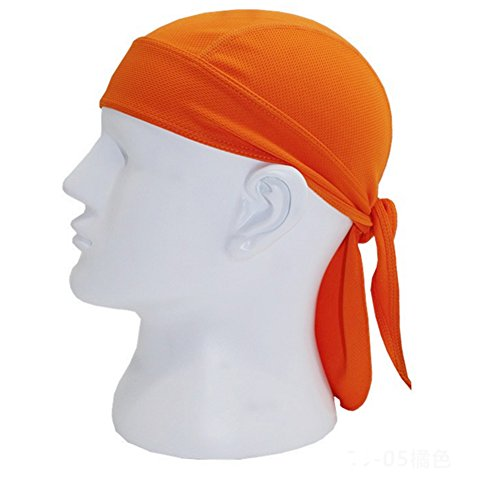 - Moore Quickly Dry Moisture Wicking Breathable Sports Sweatband Headwear Hat Bike Motorcycle Head Wrap Scarf Skull Cap Helmet Liner (orange)