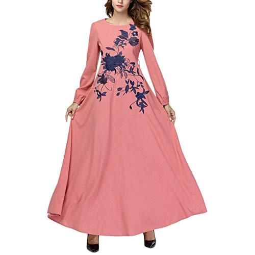 Pink Mujeres Plisado La Suelta Vestido Bordado Columpio Vendimia Larga Manga Maxi De Floral pRF7Pqwn