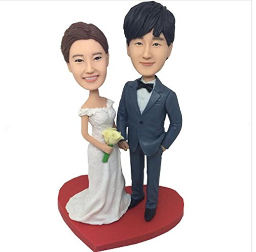 Custom Cozy Wedding Bobblehead Polymer Clay Bobbleheads Cake Toppers by MiniBobbleheads