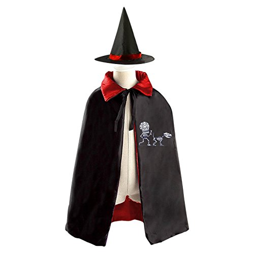Dog Spider Costume Prank (Skeleton Dog Halloween Costumes Witch Wizard Reversible Cloak With Hat Kids Boys Girls)