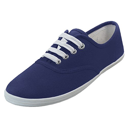Shoes 18 Womens Canvas Shoes Lace up Sneakers 18 Colors Available (6 B(M) US, Navy 324)