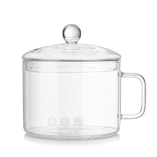 (XHHOME44oz / 1300ML Heat Ressitant Food Grade Glass Bowls Instant Noodles Cup Bowl with Lid, Milk Salad Bowl Soup Microwave Bowl Home Child)