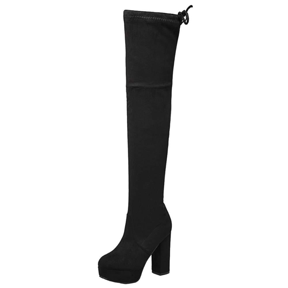 Frauen Plattform über Die Knie Stiefel High Heel Stretch Block Frauen Lange Stiefel