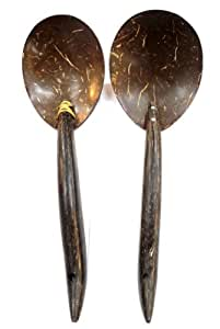 """9"""" Coconut Shell Wooden Kitchen Cooking Ladle Spoons Utensils Set of 2"""