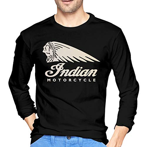 Indian Motorcycle Long Sleeve T-Shirt Crew Neck Long Sleeve Printed Shirt Graphic Tee Tops Black
