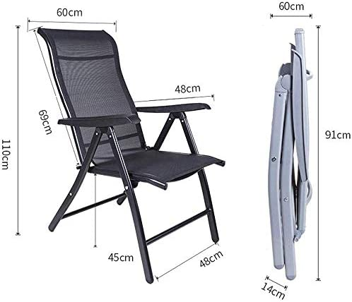 ZHANGYY Chaise de Bureau inclinable de Loisirs Lazy Home Chair Chaise Pliante Pause déjeuner (Couleur: Noir)