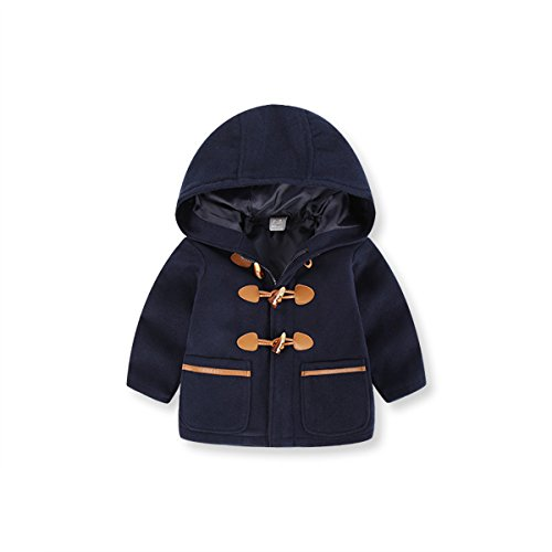 Ding-dong Kid Boy Girl Hooded Duffle Toggle Coat£¨Navy, 5-6T£