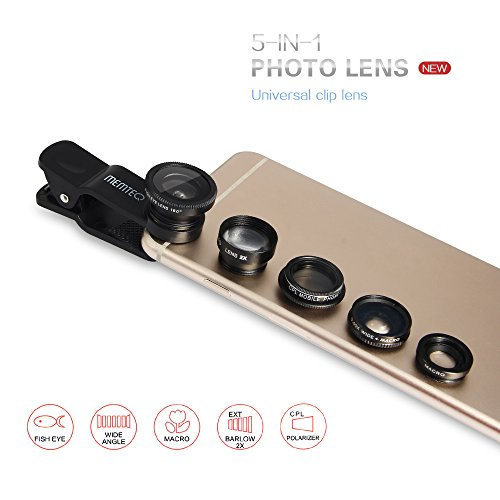 MEMTEQ 5 in 1 Universal Clip-On Phone Camera Lens, 180 Degree Fisheye + 0.65X Wide Angle + Macro + CPL Filter + 2X Telephoto Lens, Camera Photo Kit for iPhone 6 6s / 6 Plus, iPhone 5S 5C 5 4S 4, Samsung Galaxy Note, iPad Mini / Air, Tablet, Laptop - Black