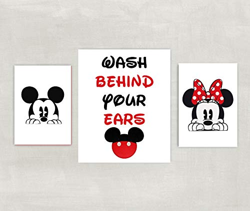 Minnie and Mickey Mouse Bathroom Prints - Silhouette - Wash Behind Your Ears Set of 3 Prints ((unframed))