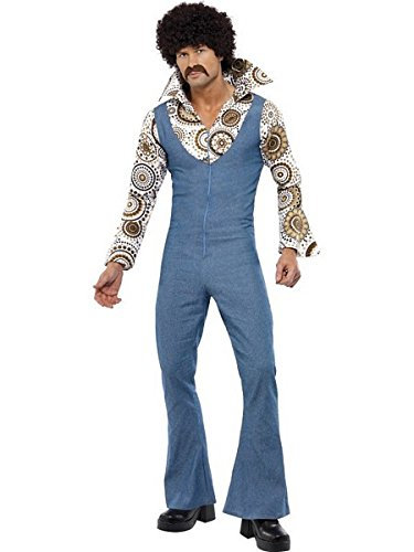 Smiffy's Men's Groovy Dancer Costume Jumpsuit with Attached Mock Shirt, Multi, (Ladies Groovy Dancer Costume)