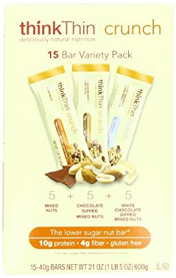 thinkThin Crunch Variety Box, Gluten Free, 1.41-Ounce Bars (Pack of 15) from thinkThin