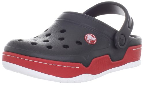 crocs 14301 Front Court K Clog (Toddler/Little kid),Black/Red,4 M US Toddler