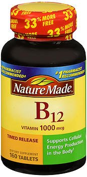 Nature Made Vitamin B-12 1000 mcg Timed Release Tablets 160 ea (Pack of 3)