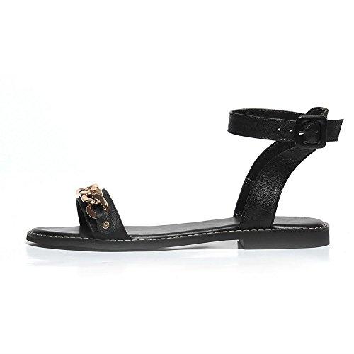 Allhqfashion Donna Senza Tacco Massiccio Fibbia Open Toe Flats-sandali Nero