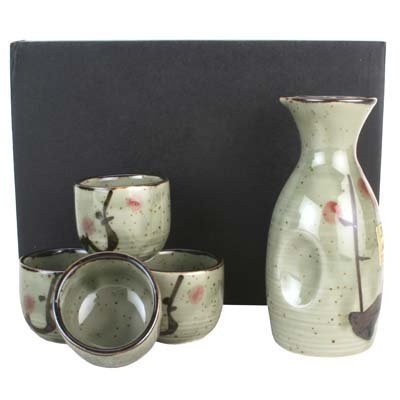 Japanese 5 Pc Sake Carafe & Cup Set Green & Cherry Blossoms image