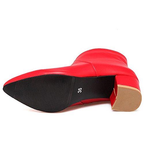 COOLCEPT Damen Mode Blockabsatz Dress Stiefel Ankle With Zipper Red