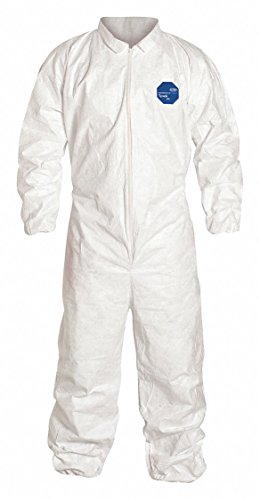 Dupont Safespec TY125S WH White XL Tyvek Chemical-Resistant Coveralls - Fits 28 in Chest - 29 1/2 in Inseam - Elastic Ankles, Elastic Wrists - TY125SWHXL002500 [PRICE is per PAIR]