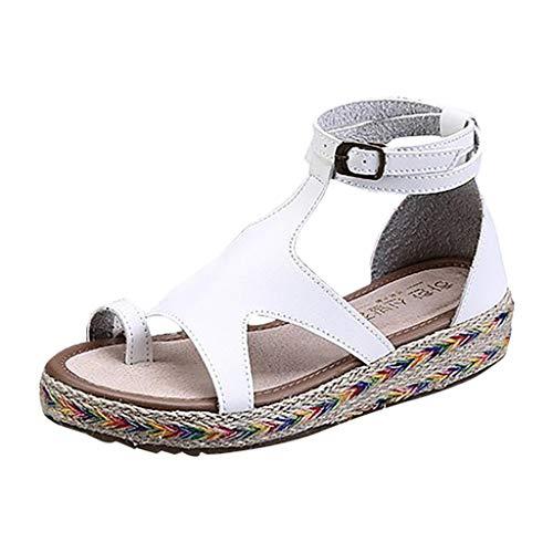 (CCFAMILY Women's Sandals Women Vintage Buckle Peep Toe Flat Shoes Casual Party Sandals White)