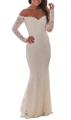 made2envy Crochet Off Shoulder Maxi Evening Party Dress (S, White) LC61847WS