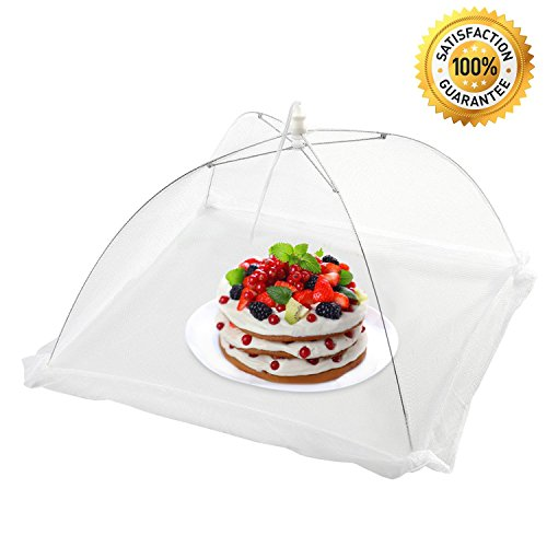 [Pack of 4] Sicili White Food cover mesh-Food umbrella-Pop-up food tent to keep out insects, bugs, flies, mosquitos-Size 16''x16''x11''-Ideal for indoor kitchen, outdoor activities, picnics, BBQs