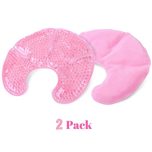Hot Cold Breast Gel Bead Ice Pack (2 Pack) by FOMI Care | Nursing Pain Relief for Mastitis, Engorgement, Swelling | Fabric Backing for Ultimate Comfort | Reusable, Freezable, Microwavable (Pink)