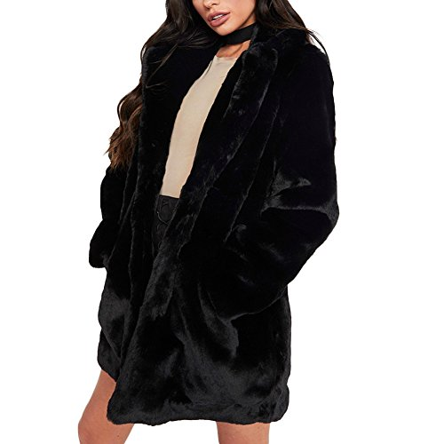 Joseph Costume Winter Faux Fur Coat For Women Long Sleeve Lapel Warm Outwear Cardigan Overcoat Jacket Outfit Black (Black Mink Fur Coat)