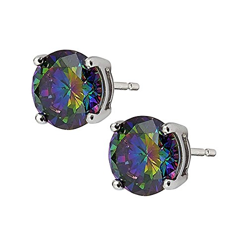 Round Mystic Fire Color Cz Stud Earrings on 925 Sterling Silver Rhodium Plated (8mm) (Plated Rhodium Color)