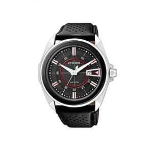 Citizen AW1060-08E - Reloj analógico de cuarzo para hombre, correa de cuero color negro
