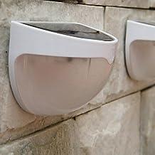 FAGL 1.2W 6-LED White Mini Waterproof Solar Powered Fence / Wall / Garden Lamp - White