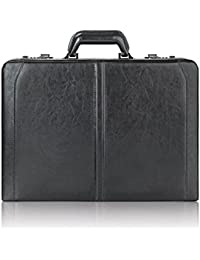 Broadway Premium Leather 16 Inch Laptop Attaché, Hard-sided with Combination Locks, Black
