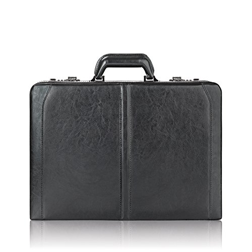 Solo Broadway Premium Leather 16 Inch Laptop Attaché, Hard-sided with Combination Locks, Black 471-4