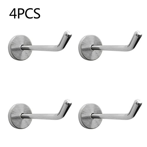 Shineme 4Pack Stainless Steel Wall Hook Single Holder for Living room Coat Hat Robe hanger Bathroom Towel Kitchen Strong Heavy Duty Garage Storage Organizer Utensil Hook (large-4pcs)