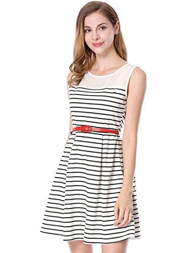 Allegra K Women's Chiffon Panel Stripe Short Sleeveless A-Line Dress with Belt White Small