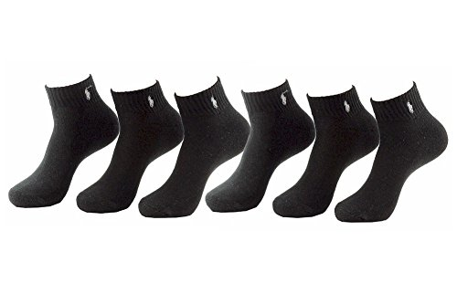 Polo Ralph Lauren Men's 6-Pairs Quarter Black Socks Sz: 10-13 fits shoe 6-12.5