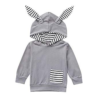 K-youth Sweat Shirt, Sudadera con Capucha para Niños Rayas Sudadera Niñas 6 Meses