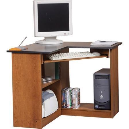 Home Office Table Orion Corner Computer Workstation, Oak and Black