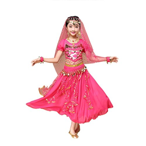 kaifongfu Girls Dance Clothes,Clearance Kids' Belly Dance Outfit Costume India Dance Clothes Top+Skirt (M(120~135cm), Hot (India Costume For Children)