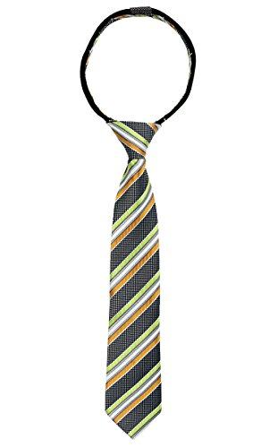 Spring Notion Boys' Pre-tied Woven Zipper Tie Large Lime Orange Stripes