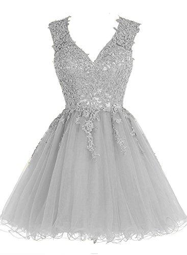 Silber Abendkleider Damen Cocktailkleid Brautjungfernkleider V Kurz Ballkleid Appliques Ausschnitt Carnivalprom 71qz1
