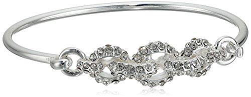 Anne Klein Silver-Tone Crystal Pave Bangle Bracelet