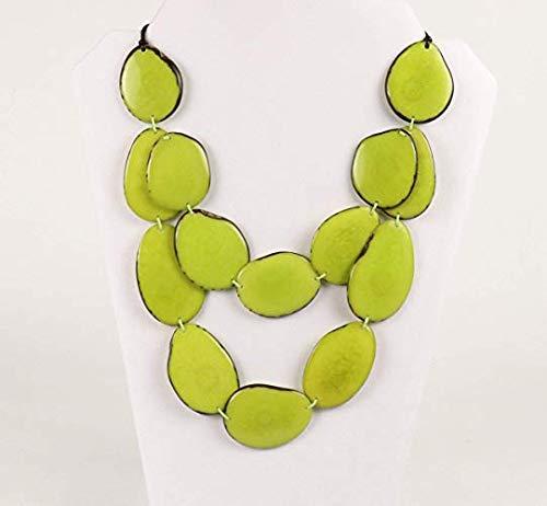 Medallion Lime (Tagua Bib Necklace Double Strand- Lemon Lime - Modern Design -La Manta - Artisan Elegant)