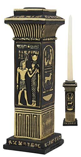 (Ebros Ancient Classical Egyptian Black and Gold Hieroglyphs Royal Pillar Column Pharaoh and Isis Candle Holder Figurine 6.75