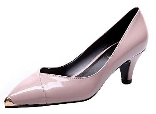 Odomolor Women's Pull-On Patent Leather Kitten-Heels Pumps-Shoes Pink V1Gqs5X