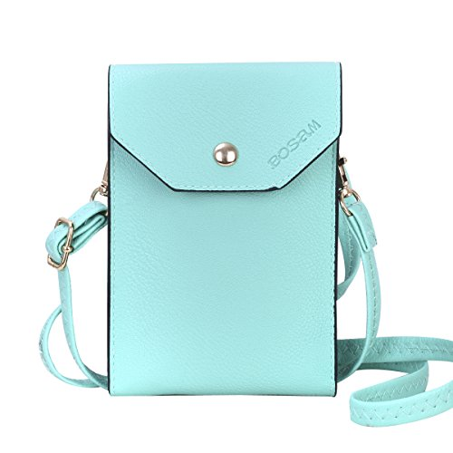 Bosam Cute Candy Colors Crossbody Cell Phone Purse Small Woman Bag Wallet for Smartphones Under 5.5inch(Mint Green) ()