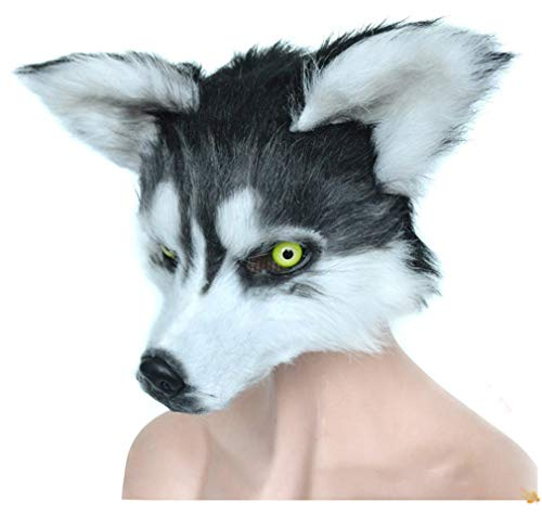 (Pre-fashion Novelty Furry Wolf Animal Head Halloween Costume Party Masks Masquerade Accessories (Colo r2))