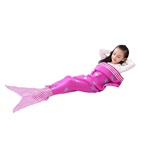 Lujuny Mermaid Tail Blanket for Kids - All Seasons Knitted Crocheted Thicken Sofa Sleeping Bag for Children (Ages 5 - 10) (Stripe Red) (Halloween Movies For 8-12 Year Olds)