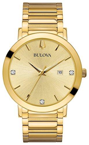 Bulova Mens Collection Bracelet Watch (Bulova Men's Modern Collection Goldtone Stainless Bracelet Watch with Diamond Aceents)